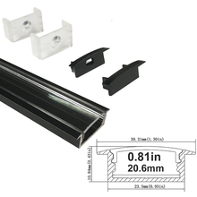 UnvarySam Black U Shape Aluminum profile for flex/hard LED Strip Lights with Clear Cover End Caps Mounting Clips