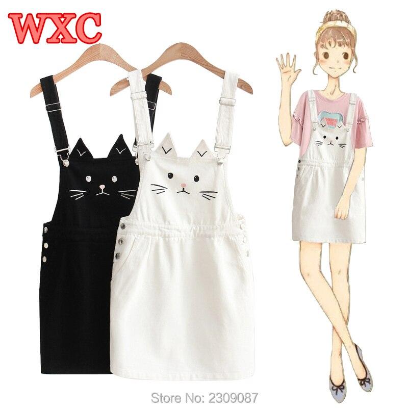 8de1c004e9 Summer Suspender Dress Harajuku Cute Cat Embroidery Strap Jeans Dresses For Women  Preppy Style Sundress Denim