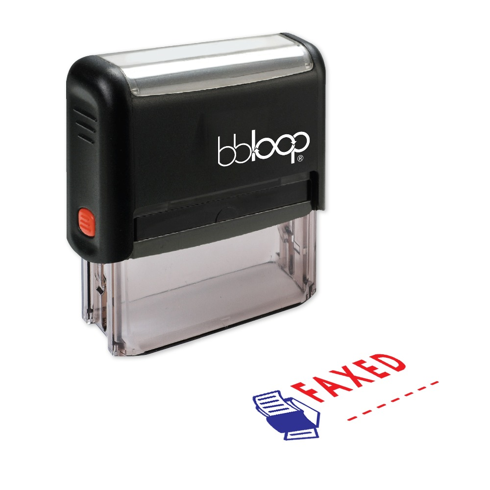 BBloop FAXED W/Fax Machine Illustration Self-Inking Stamp, Rectangular, Laser Engraved, RED 10 digit 9 wheels gray light blue rubber band self inking numbering stamp