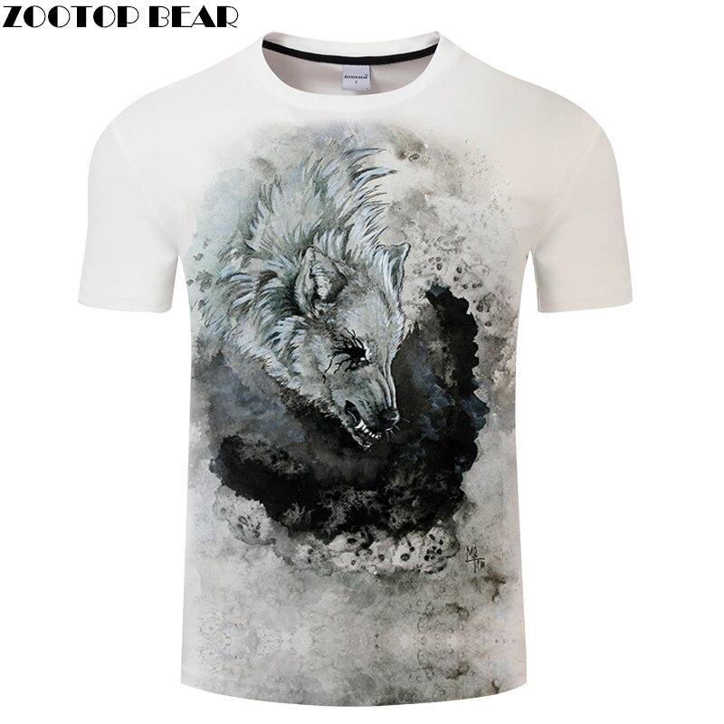 Print tshirt 3D Wolf T-shirt Men t shirt Summer Tee Short Sleeve Top Male Harajuku Camiseta Short Sleeve New Dropship ZOOTOPBEAR
