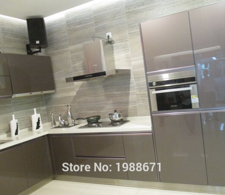 Aluminium kitchen cabinet doors 304 stainless steel for Stainless steel kitchen cabinet price