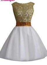 KapokBanyan Real Photo Yellow Beads White Tulle Short Prom Dresses 2017 with Crystal Sashes Luxury Party Dress Vestido de festa