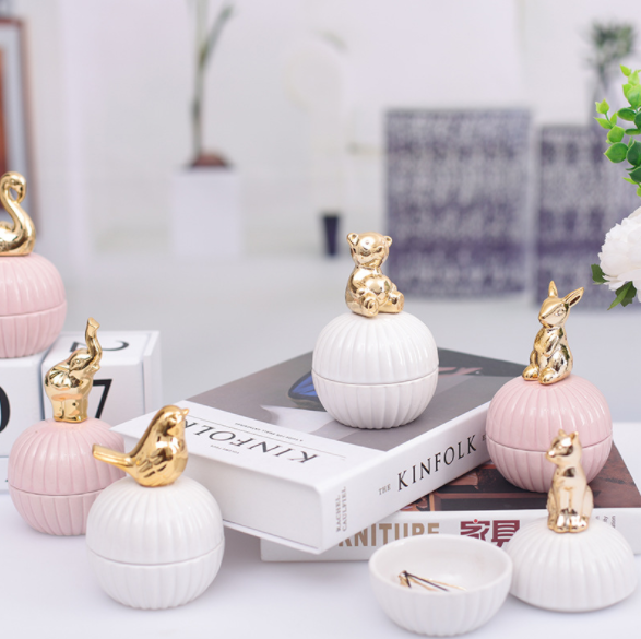 Gold 3d Cat Kitty Animals Porcelain Jewelry Holder Ring Dish Ceramic Jewelry Home Decor Tray Bowl Jar White Pink For Wedding