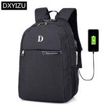 DINGXINYIZU boys black school backpack antitheft password lock 15.6 inch laptop usb charge bagpack men travel