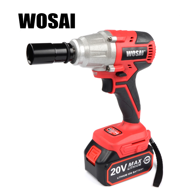 WOSAI 20V Lithium Battery Max Torque 380N.m 4.0Ah Brushless Electric Impact Wrench DIY Cordless Drill Cordless Wrench wosai 12v cordless drill lithium battery replacement battery applicable drill model ws 3005 ws d5