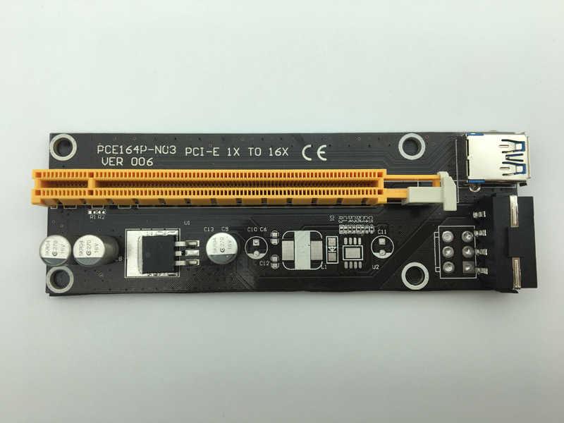 Baru 60 Cm PCI-E Extender PCI Express Riser Kartu 1x untuk 16X USB 3.0 SATA untuk 4Pin Power Supply untuk pertambangan Bitcion Penambang BTC Antminer