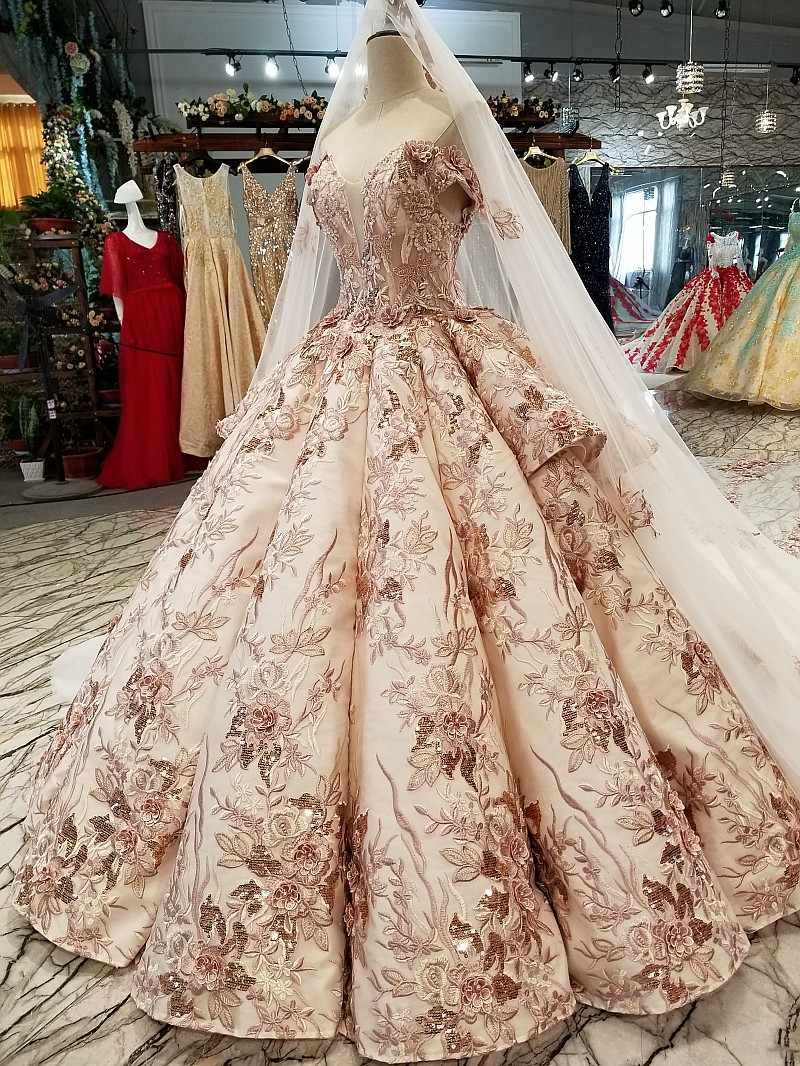 LS46548 יוקרה מיוחד דובאי חתונה שמלה מתוקה כבוי כתף כלה שמלה עם גלימה ארוכה אמיתי מחיר תוצרת סין במפעל