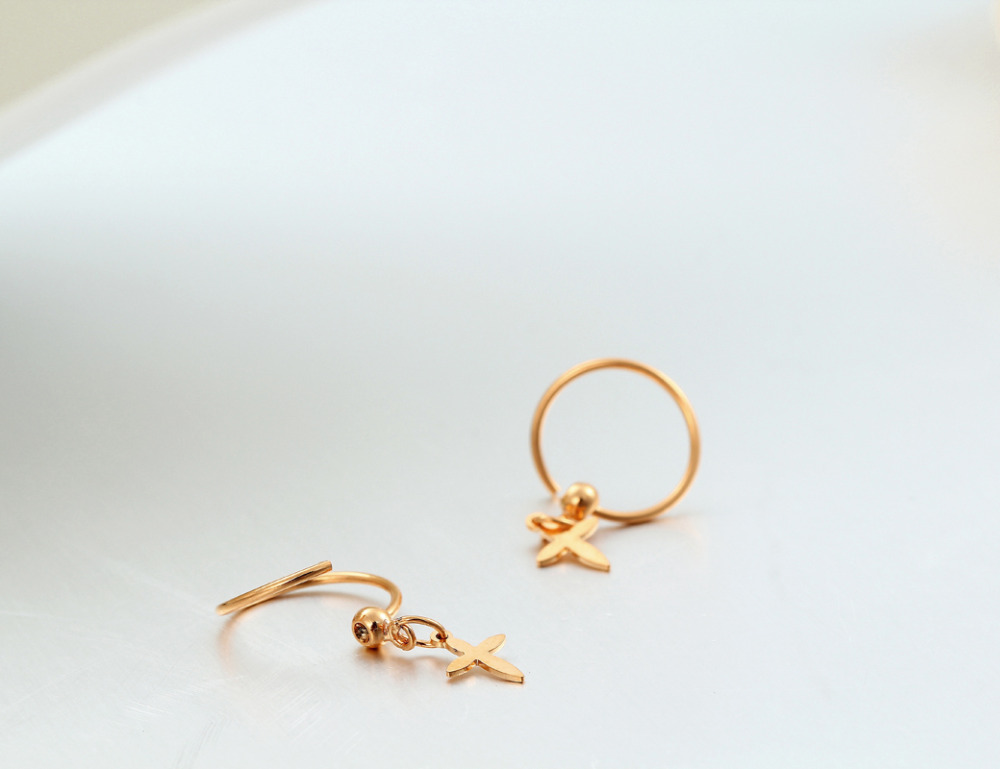 Small Yellow Gold Color Lucky Cross Charm Pendant Huggies Hoop Earrings Piercing Jewelry For Kids Baby S Women In From