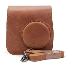 Brown PU Leather Camera Bag for Instax Strap Case Pouch Protector Shell for Fujifilm Instax Polaroid