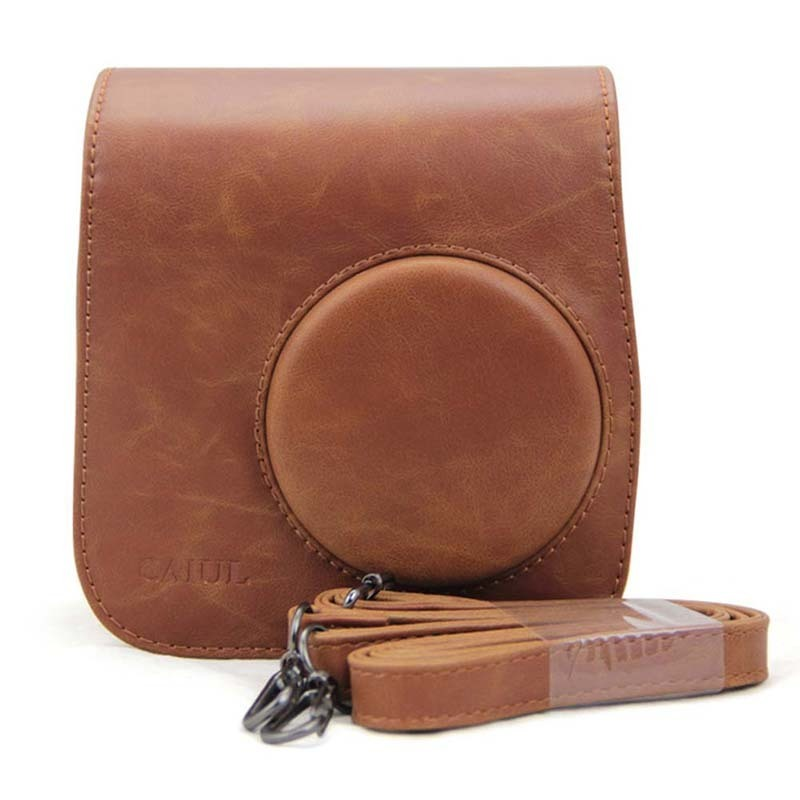 Brown PU Leather Camera Bag for Instax Strap Case Pouch Protector Shell for Fujifilm Instax Polaroid Mini 8 mini9/7s/25/50/70/90