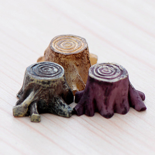 2pcs Tree Stump resin figurine decorative jardin Moss micro landscape home decor miniature fairy garden decoration accessories 5