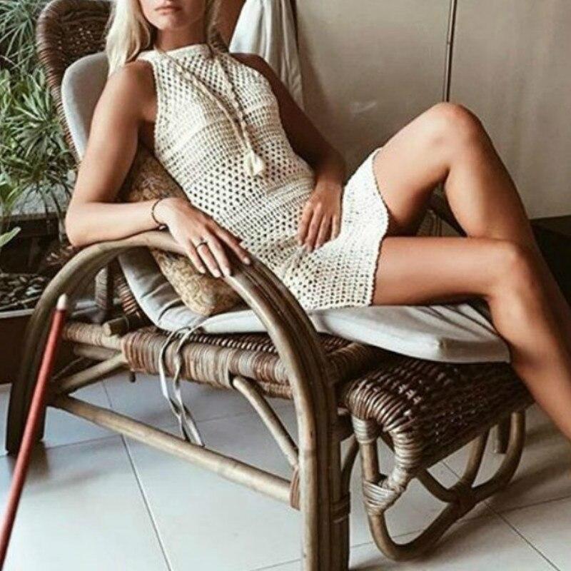2018 Sexy Women Dresses Knitted Beige Sleeveless One Piece Dress Crochet Beach Dress Clothing Onesize