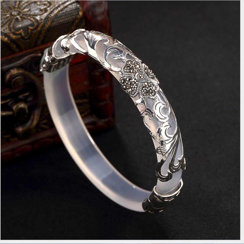 Uglyless 925 Zilveren Klavertje Vier Armbanden voor Vrouwen Transparante Edelsteen Bangle Etnische Bloem Jade Armband Thaise Zilveren Wijnstokken