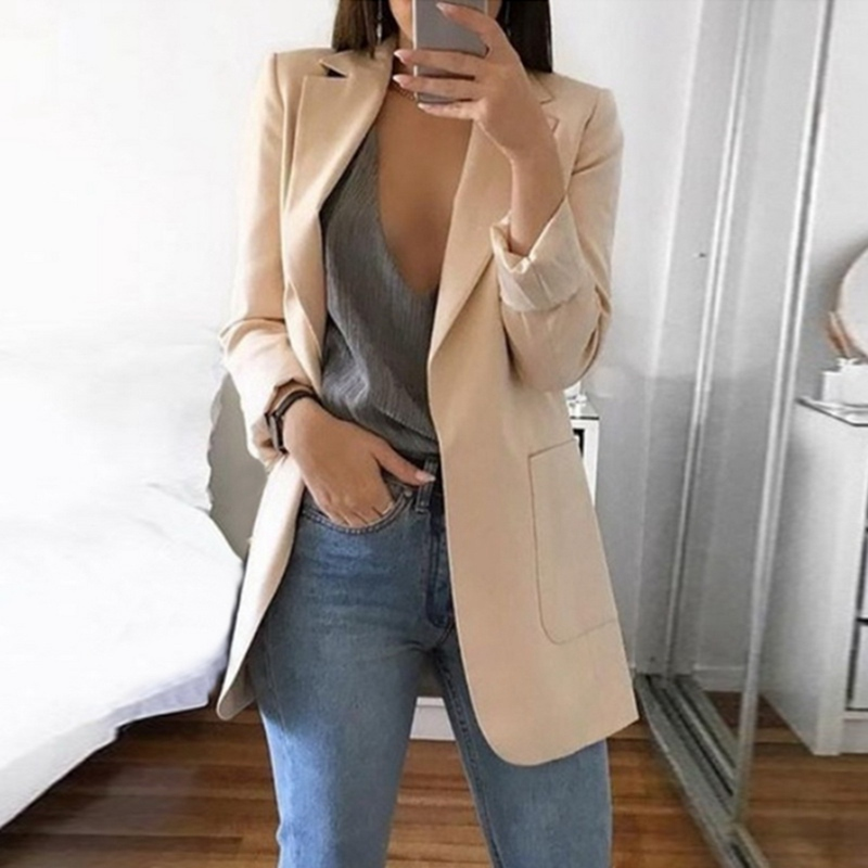 Plus Size S-5XL Long Women Blazers and Jackets Autumn Clothes Women Suit European Work OL Thin Suit Blazer Mujer Blazer Outwear