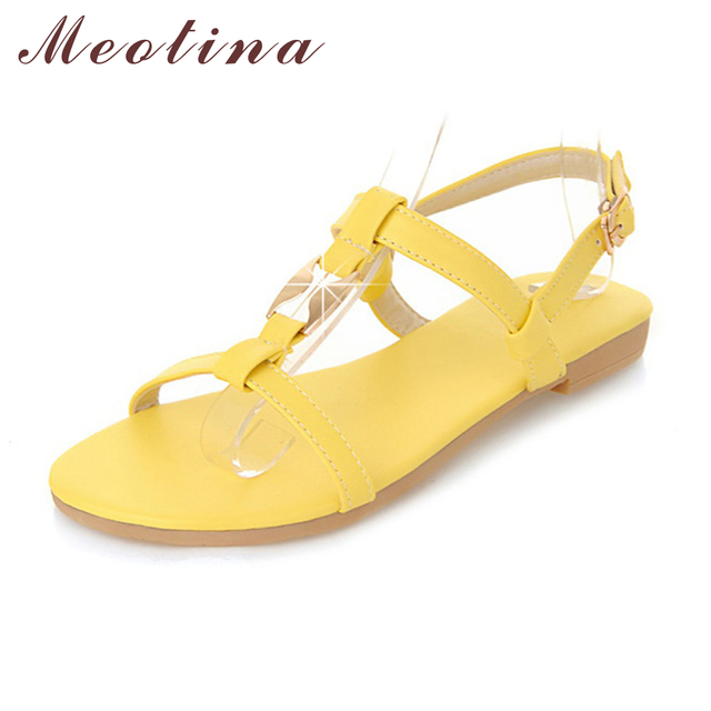 Meotina Shoes Women Sandals Summer Ankle Strap Beach Flats Ladies Sequined  Yellow Green Beige Yellow Flat Shoes Small Size 34-39 1051c9433b46