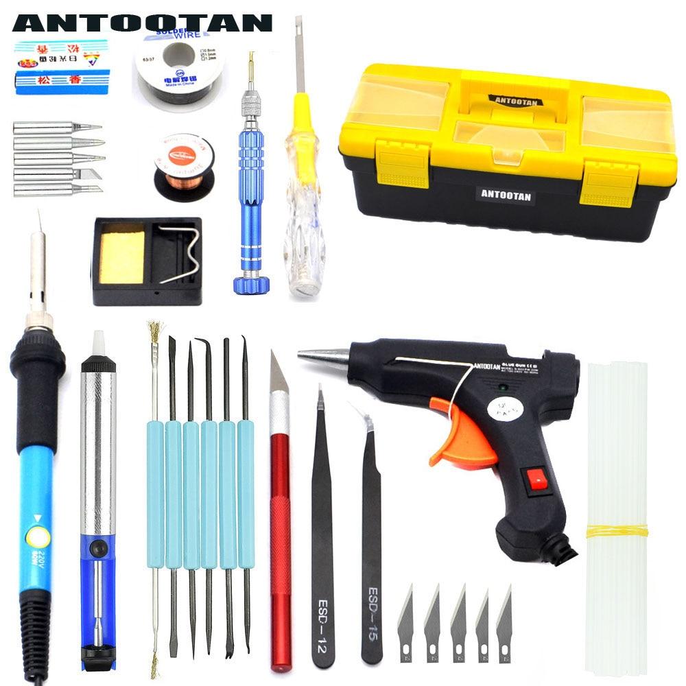 EU 220v 60w DIY Adjustable Temperature  Soldering Iron Welding Kit  Carving Knife  Screwdriver Glue Gun Repair karcher бытовой sc 4 iron kit eu
