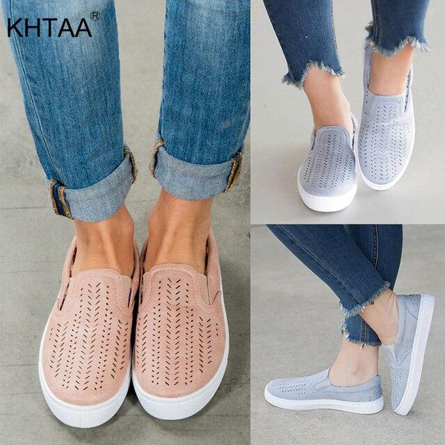 KHTAA Kadınlar Flats kesimler Elastik Bant vulkanize ayakkabı Bahar Yeni Kadın Slip-on Sığ Nefes rahat ayakkabılar Bayanlar Artı boyutu