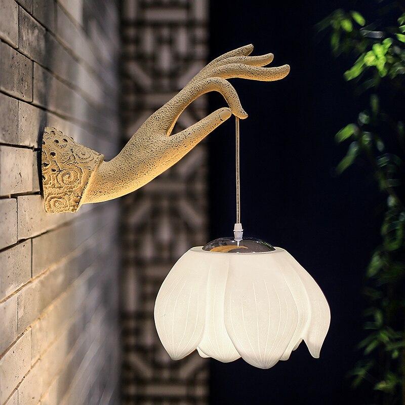 Новый китайский стиль столовая спальня прикроватная лампа настенная лампа Настенный светильник украшение художественный зал отель - 3