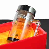 Free Shipping 380ml High Quality Handle Heat Resistant Glass Tea Pot Cup Water Mug With Tea