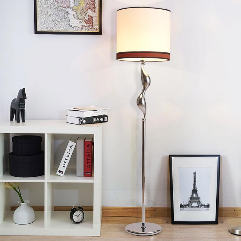 Modern Standing Lamps For Living Room Bedroom Kids Long Floor Stand Lamp Chrome Cloth Fabric Loft