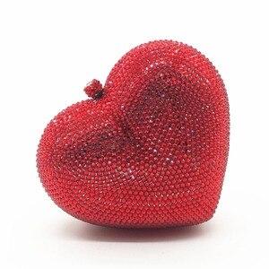 Женские красные/черные/ярко-розовые/зеленые/белые вечерние сумочки в форме сердца со стразами, клатчи со стразами, свадебные сумочки