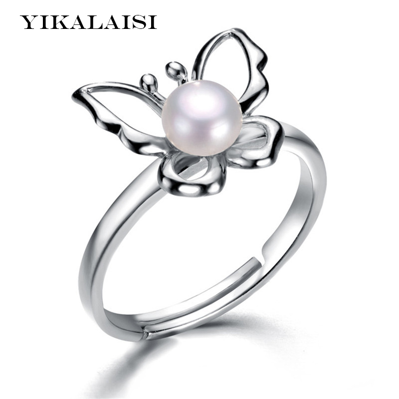 YIKALAISI 2017 Pearl Ring Jewelry Butterfly Gold Ring Freshwater Pearl Wedding Rings 925 Sterling Silver Jewelry Rings For Women