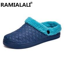 63696cc1d1 Homens Sapatos Fechados de inverno Chinelos Quentes de Algodão Casuais  Crocus Tamancos com Pele Forro de Lã Casa Chinelos Piso Z..