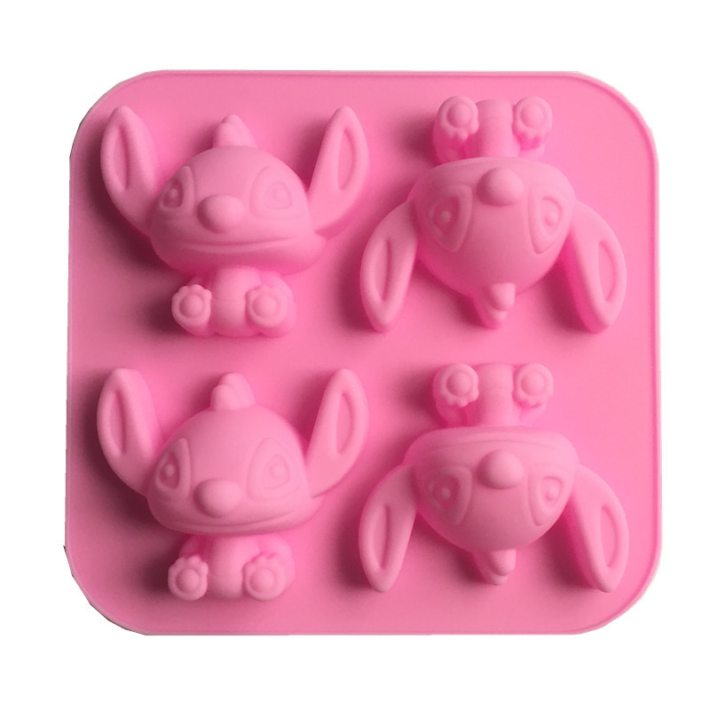 Cake Decorating 4 Cavity Cartoon Lilo&Stitch Molding Silicone Nonstick Bakeware Baby Favorite Stitch Cake Moulds Free Shipping