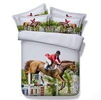 3D стеганое одеяло с лошадью постельное белье лошади дизайн королева размер пододеяльник простыня ватное стеганое одеяло постельное белье