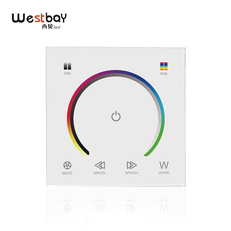 Simple Westbay Panneau Tactile Rgbw Commutateur Dc12-24v Rgbw Contrôleur Lumière Gradateur Interrupteur Led Bande Interrupteur De Lumière En Verre Trempé Interrupteur Mural
