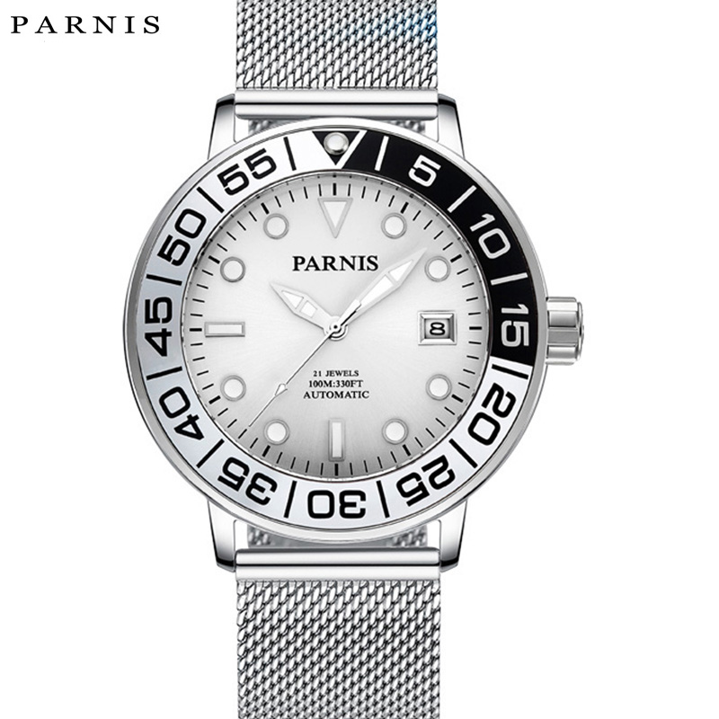 2017 Issue Navigation Series Parnis Watches 100M Date Just Mens Automatic Watch Ultra Thin Mesh Band Luminous Wrist Watch xfcs2017 Issue Navigation Series Parnis Watches 100M Date Just Mens Automatic Watch Ultra Thin Mesh Band Luminous Wrist Watch xfcs