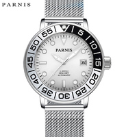 a99bfeda4237 2017 Issue Parnis Watch Stainless Steel Mens Automatic Watch Ultra Thin  Mesh Band 100M Waterproof Calendar