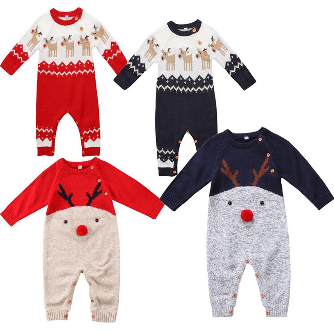 4 Styles Xmas Newborn Baby Boys Girls Deer Knitting Romper ...