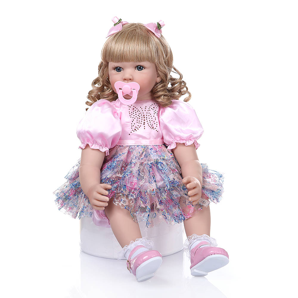 60CM silicone reborn baby girl doll with long blonde hair vinyl toddler princess babies realistic high end collectible artwork-in Dolls from Toys & Hobbies    1