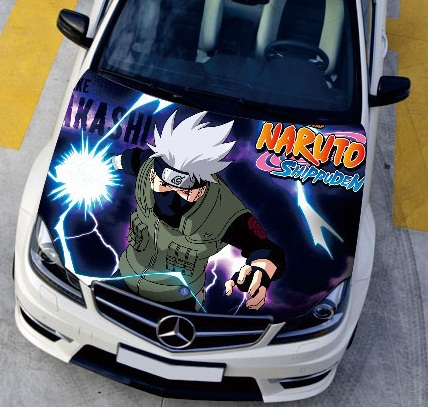 US $53 99 40% OFF|LEFT SIDE Car Stickers Car Engine Hood Sticker Head  Naruto Cartoon Styling Carbon Vinyl Cover Waterproof High definition  Inkjet-in