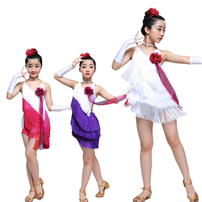 Sequin tassel latin dance dress for girl salsa kids dresses competition spandex children samba tango salsa skirt Fringe ballroom