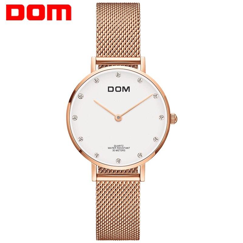 Montre Femmes DOM Top Marque De Luxe montre À Quartz Casual quartz-montre en cuir Maille sangle ultra mince horloge Relog G-36G-7M