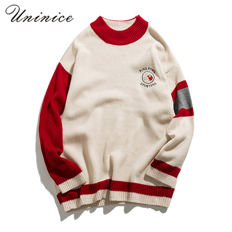 Japanese Winter Vintage Shoulder Embroidery Polo Neck Sweater Man Stripe O-neck Knitted Pullover Autumn Winter Warm Knitted Tops