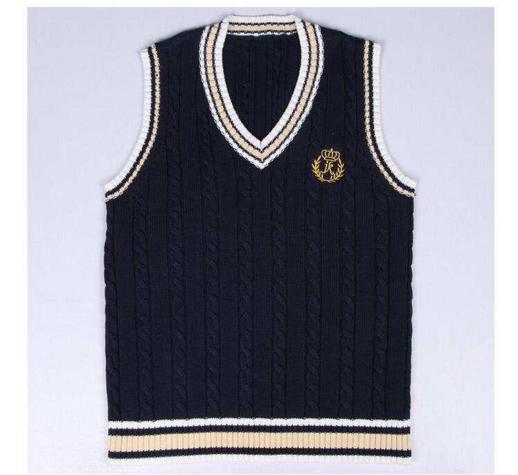 School Uniform Sweaters Vest For Girls Boys British Student Uniforms Embroidery V neck Vest Sweaters Tank Top new
