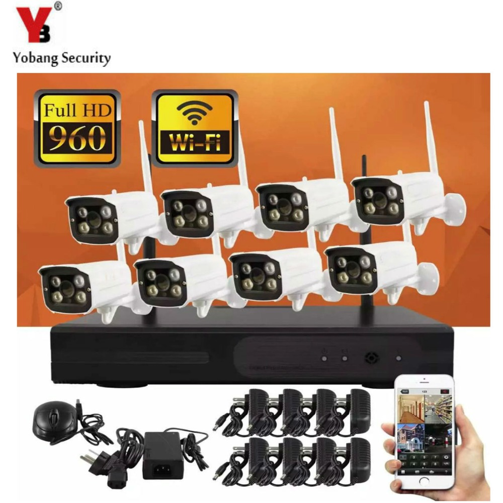 YobangSecurity 8ch Wireless NVR kit Plug And Play CCTV System Wireless NVR Surveillance Kit 720P Outdoor Security WIFI IP Camera plug and play 8ch wireless nvr h 264 video surveillance kit 720p hd outdoor vandal proof ir dome wifi cctv camera system 2tb hdd