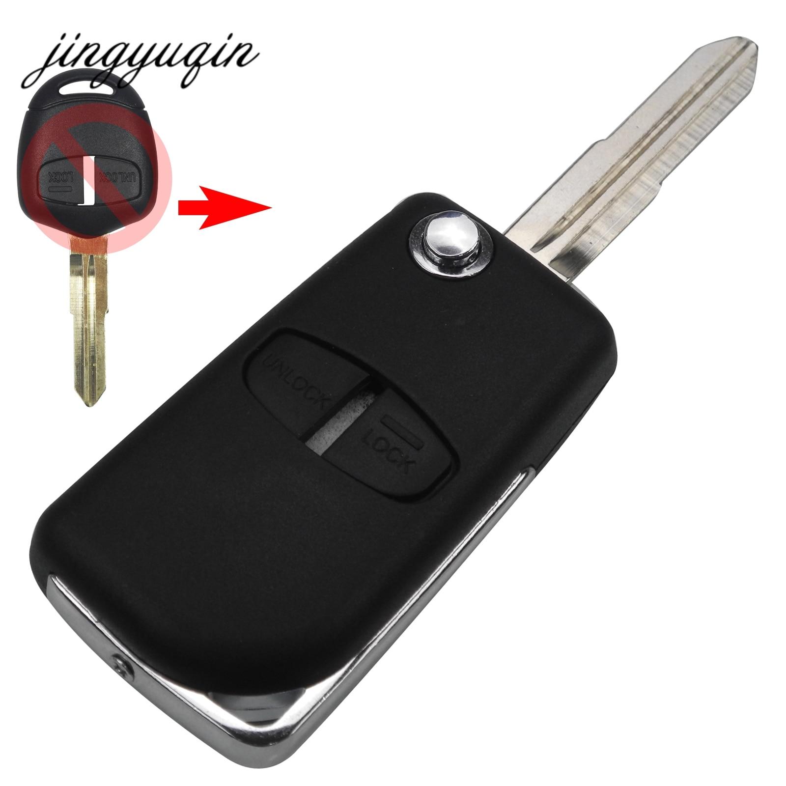 Jingyuqin 2 Bouton Bascule Modifié Pliant À Distance Shell Key Case pour Mitsubishi Nouveau ASX GRANDIS Outlander LANCER-EX Droit lame