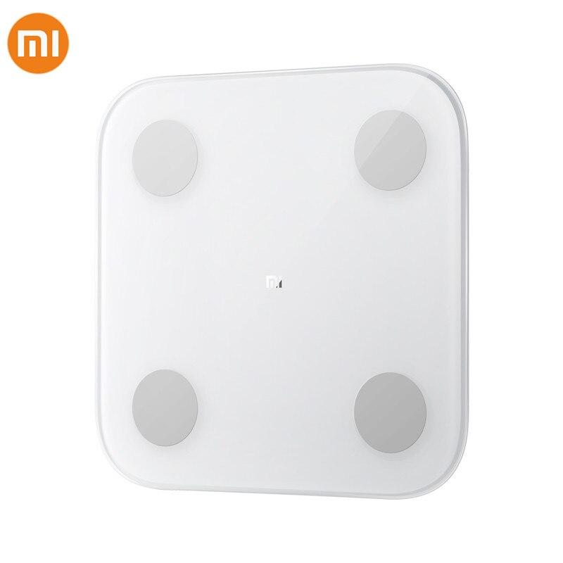 Nuevo Xiaomi 2,0 bluetooth inteligente Escala de grasa corporal equilibrio de los datos de salud Monitor LED de la precisión pantalla grasa corporal escala de peso ajuste