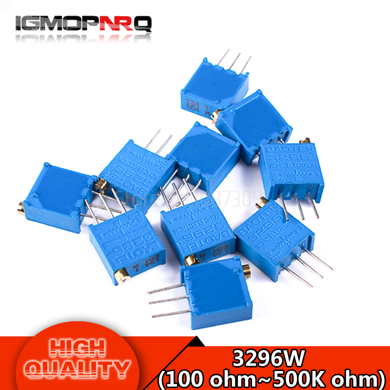 10pcs 3296W series resistanceohm Trimpot Trimmer Potentiometer 1K 2K 5K 10K 20K 50K 100K 200K 500K 1M 100R 200R 500R 3296W 103 5pcs 100k 3296w 3296 trimmer potentiometer variable resistor