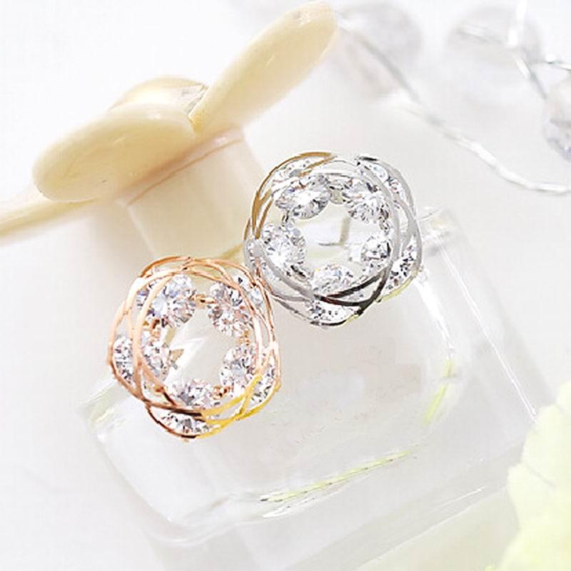 Sparkly zircon stud earrings for