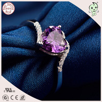 Good Quality Luxurious Purple Love Heart Stone Design S925 Sterling Silver Ring