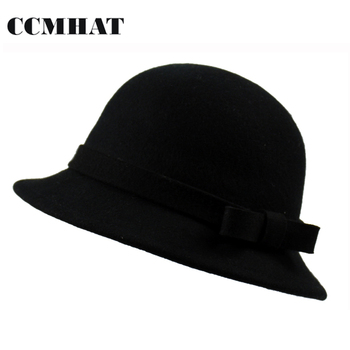 CCMHAT 100% lana negro sombreros para niños bebé ocasional moda Fedoras Caps  ajustable cabeza invierno lana sombreros 97da128c2af