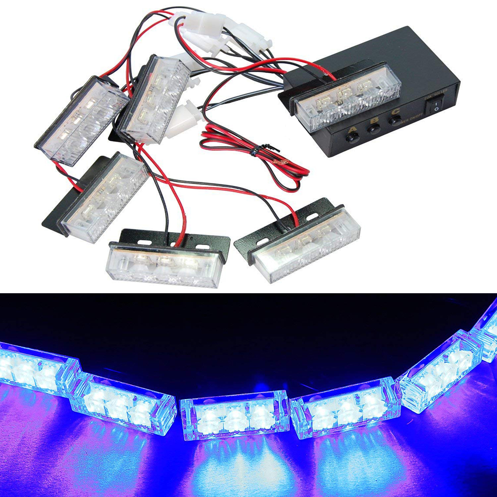 6x3 LED Car Network Burst Grille Flash Light Strobe Flashing Warning Car Truck Light Led Flashing Firemen Lights DC 12V
