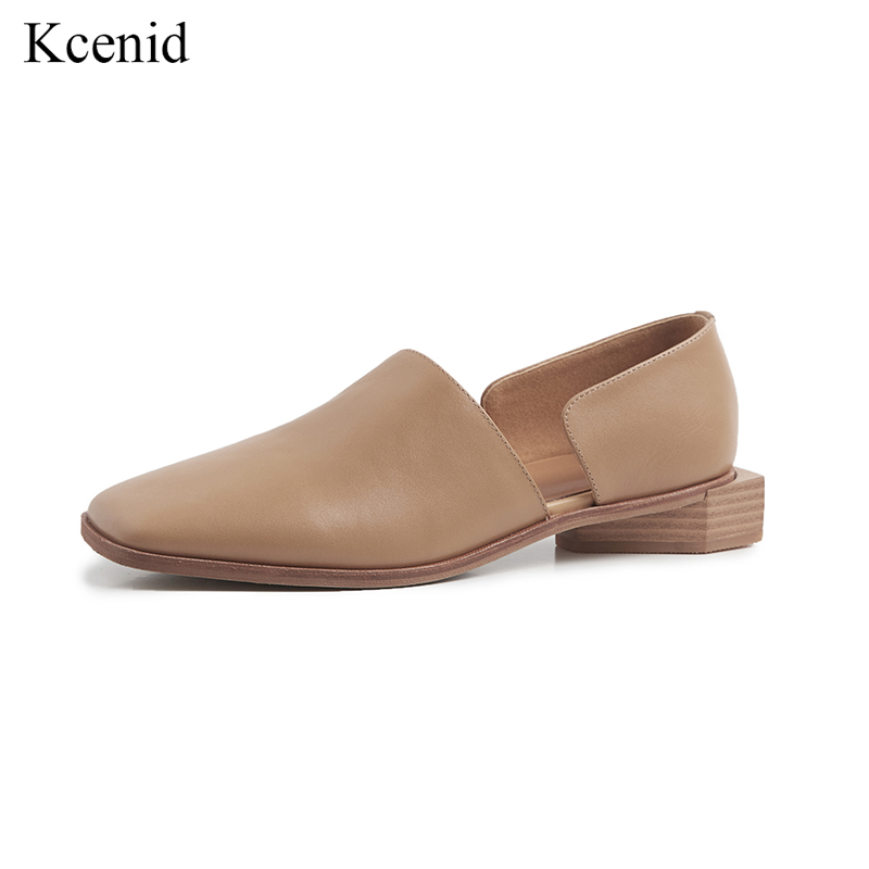 Kcenid Women flat shoes 2019 genuine leather female shoes black apricot fashion square toe casual loafers