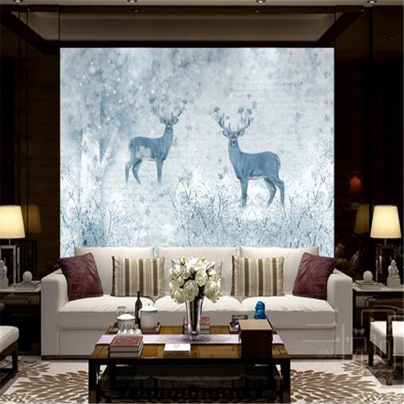 Cartoon Forest Wallpapers Retro Non-Woven Wall Paper Elk Nordic Cold Colors Wallpapers for Living Room non timber forest products enterprise development