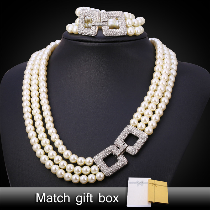 Pearl Jewelry Bracelet And Necklace Sets Rhinestone 3 Layers Luxury Synthetic Pearl Bridesmaid Jewelry Set For Women NH1537 elegant rhinestoned bowknot three layered faux pearl necklace and bracelet for women